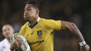 Gone: Israel Folau in action for the Wallabies last year.