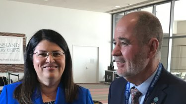 Queensland Education Minister Grace Grace and Queensland Teachers' Union president Kevin Bates.