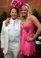 Geoffrey Edelsten with his then wife Brynne on Melbourne Cup Day.