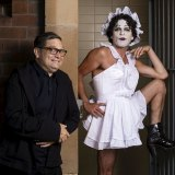 Director of the Sydney Festival, Wesley Enoch, with artist Josh Quong Tart dressed as Betty Blokk-Buster.