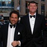 Hollywood film producer Brett Ratner and James Packer in Sydney in 2013.