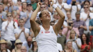 Barbora Strycova celebrates.