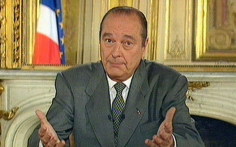 Hoping to salvage political victory from a surprise election setback, Jacques Chirac appears on TV on May 27, 1997.