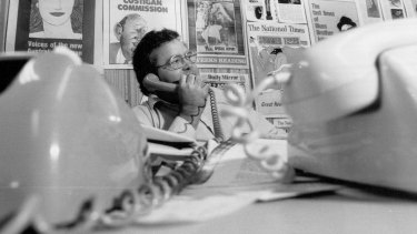 Journalist Brian Toohey in his National Times office in 1984.