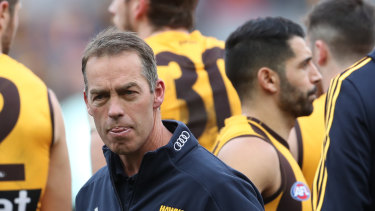 Hawks coach Alastair Clarkson looks on during the quarter-time break during the Round 21 AFL match between the Hawthorn Hawks and the Geelong Cats.