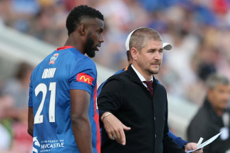 Bernie Ibini and then-Jets coach Carl Robinson, whom he followed to the Western Sydney Wanderers.