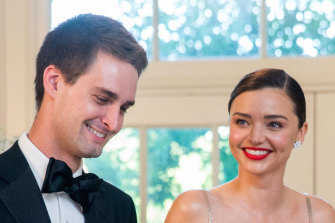 Evan Spiegel with his then-fiance Miranda Kerr at a party in 2016.