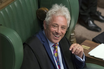 Speaker of the House John Bercow laughs after announcing he will be standing down, in the House of Commons in London.