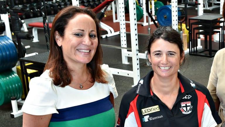 Christine Finnegan, left, and Peta Searle of St Kilda FC.