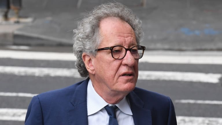 Geoffrey Rush arrives at the Federal Court on Monday.
