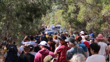 Protesters on the Western Highway near Ararat rallying to save sacred Aboriginal trees in March this year.