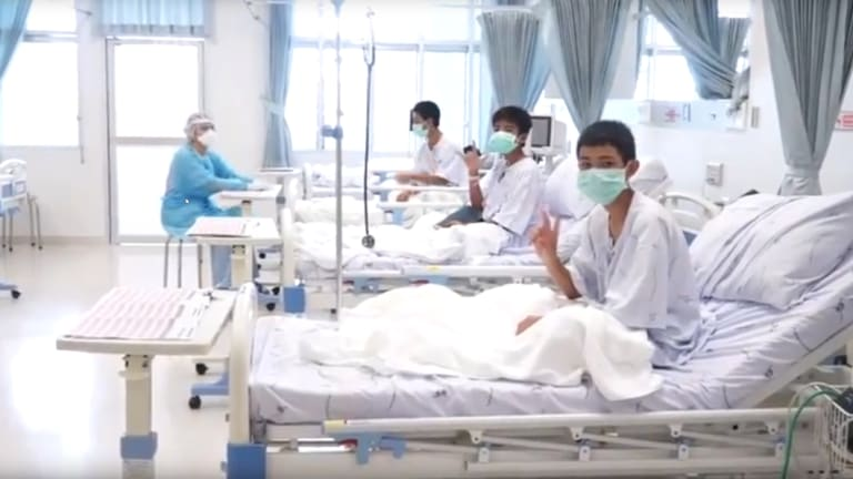 The Thai boys recuperating in hospital