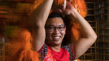 Lion dancer, Johnny Leung, in his rehearsal space in Kingsgrove, Sydney, ahead of the Lunar New Year