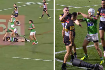 The Panthers weren't the only team guilty of niggling tactics, with Ryan James smashing Matt Eisenhuth's head into the ground and Jarrod Croker kickstarting the melee that led to Joseph Tapine being dragged into Panthers post-try celebrations.