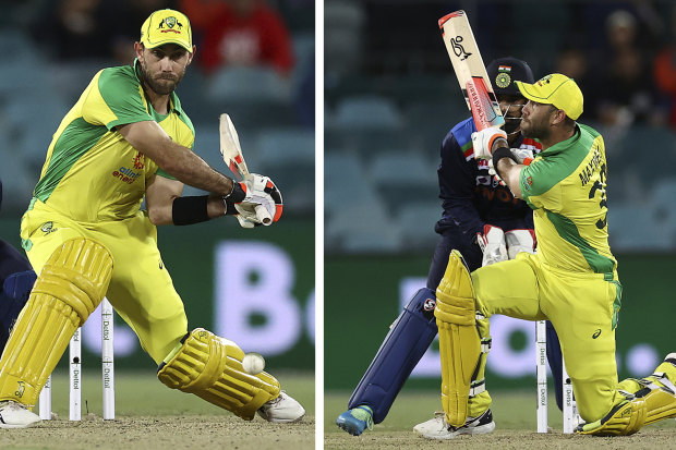 A reverse sweep that travelled 100m for six was a highlight of Glenn Maxwell's innings.