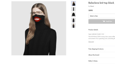 Gucci apologised for putting this turtleneck black wool balaclava sweater on sale.
