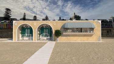 An artist impression of the Italian-inspired beach club proposed for Bondi Beach, which is reminiscent of the architecture as the Bondi Pavilion.