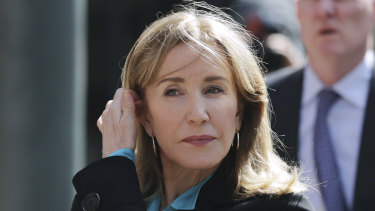 Actress Felicity Huffman arrives at federal court in Boston.