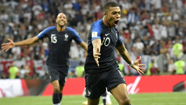 Kylian Mbappe celebrates after scoring France's fourth goal against Croatia.