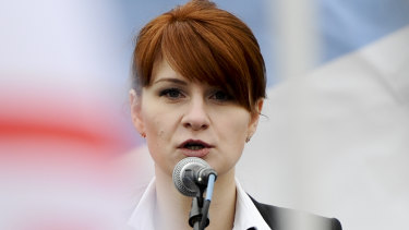 Maria Butina, leader of a pro-gun organisation in Russia, speaks to a crowd during a rally in support of legalising the possession of handguns in Moscow, Russia, in 2013.