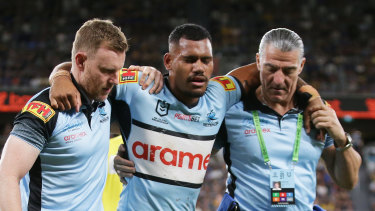 Sione Katoa was one of four Sharks players whose night was ended early by injury.