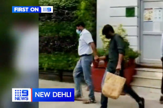 Killer hit-run driver Puneet Puneet filmed outside a New Delhi court.