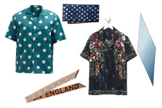 (L-R) Commas polka-dot shirt, $356, Matchesfashion; Logo scarf, $300, Burberry; Polka-dot scarf, $150, Paul Smith; To The Gypsy shirt, $249, Camilla; Sunset slim lozenge, $750, Hermes.