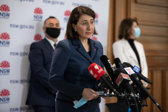 Premier Gladys Berejiklian says modelling shows the number of infections in NSW should peak this month.