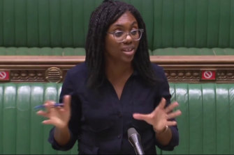 Conservative MP Kemi Badenoch delivers a speech against Critical Race Theory in the British House of Commons on October 20, 2020.