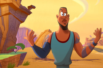 An animated LeBron James in Space Jam: A New Legacy.