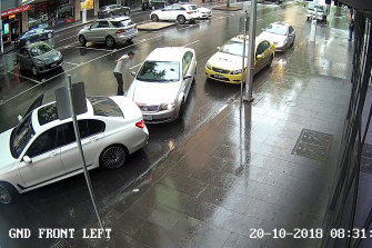 Richard Pusey is charged with unlawful assault and theft over this interaction with another driver in Melbourne in 2018.