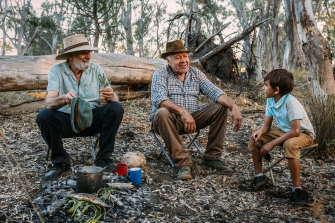Wayne Atkinson and Rod Briggs with Muraany Andy-Harrison in the  film Elders