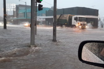 Flash flooding at Newcastle on Sunday afternoon.