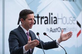 Trade Minister Simon Birmingham opens Australia House in Shanghai on Wednesday.