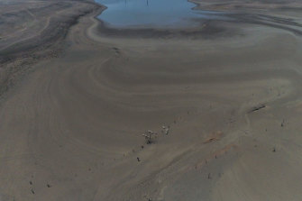 Burrendong Dam in drought as seen from a drone.
