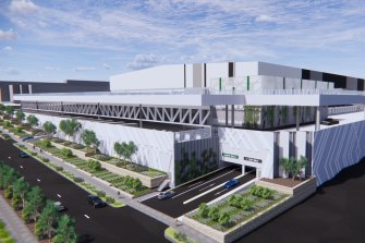 Renders of the proposed Woolworths fresh food distribution centre in Wetherill Park.
