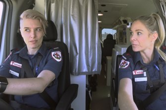 Nine's Paramedics TV show, featuring ambulance officers, from left, Nicola and Risky.