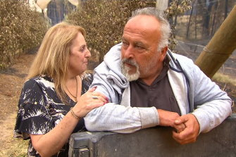 Margaret and Simon Tadrosse have vowed to rebuild after the Blue Mountains bushfires swept through their orchards,  the Bilpin Fruit Bowl.