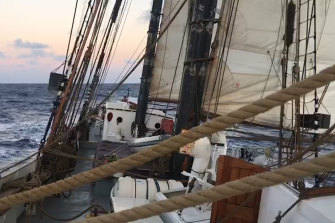 Home for months has been this 44-metre schooner, shared with 14 others.