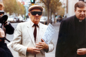 Notorious paedophile Gerald Ridsdale, and George Pell outside of the magistrates court in 1993.