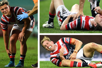 Roosters Lachlan Lam, Luke Keary and Mitchell Aubusson all went down with injury on Thursday night.
