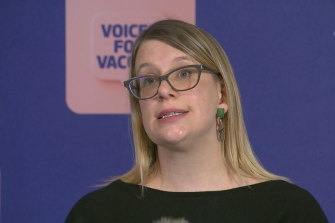 Health Department deputy secretary Kate Matson addresses the media on Saturday.