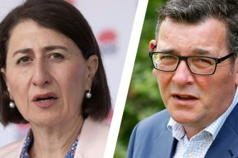 """Victorian Premier Daniel Andrews (right) says NSW Premier Gladys Berejiklian (left) is in a """"sprint while the rest of us are supposed to do some egg and spoon thing""""."""