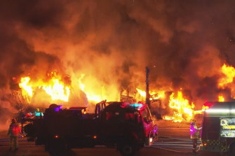 Two road workers have been seriously injured in a fiery truck crash on the NSW Central Coast.
