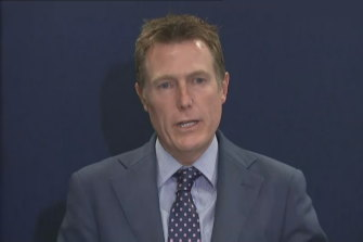 Attorney-General Christian Porter speaking at a press conference on Wednesday.