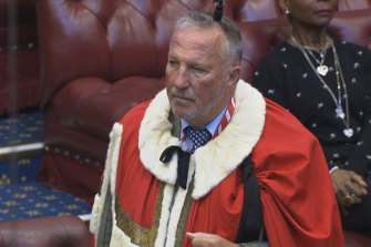 Former England cricketer Ian Botham takes up his seat in the House of Lords as Baron Botham of Ravensworth, in London, on Monday, October 5, 2020.