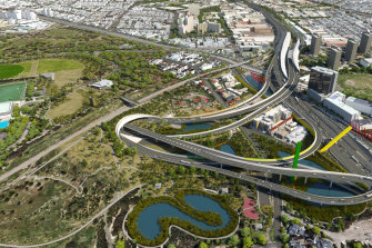 A 2014 image of the proposed East West link as it passes through Royal Park.
