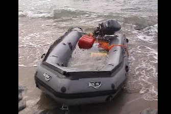 The dinghy that brought 150kg of drugs from the Pong Su to shore.