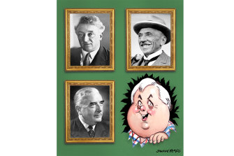 """The United Australia Party features a gallery on its website of """"United Australia Party Prime Ministers"""" with Lyons, Hughes and Menzies front and centre."""