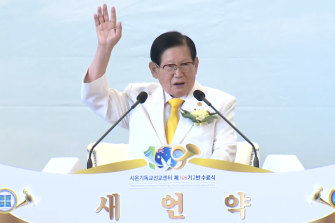 "Lee Man-Hee speaking to Australian Shincheonji ""graduates"" last year, espousing his religion's messianic bible interpretations."